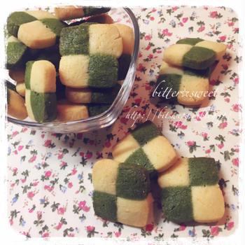 抹茶とバニラのアイスボックスクッキー*