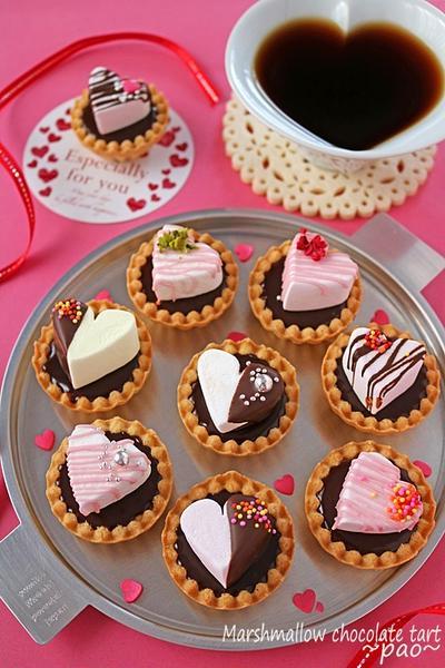 100均ハートマショマロで簡単バレンタイン!スモア風ハートのミニチョコタルト♪