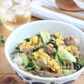 豚肉とチンゲン菜の卵とじ丼☆ゆずこしょう風味