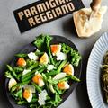 パルミジャーノ・レッジャーノとゆで卵の簡単グリーンサラダ