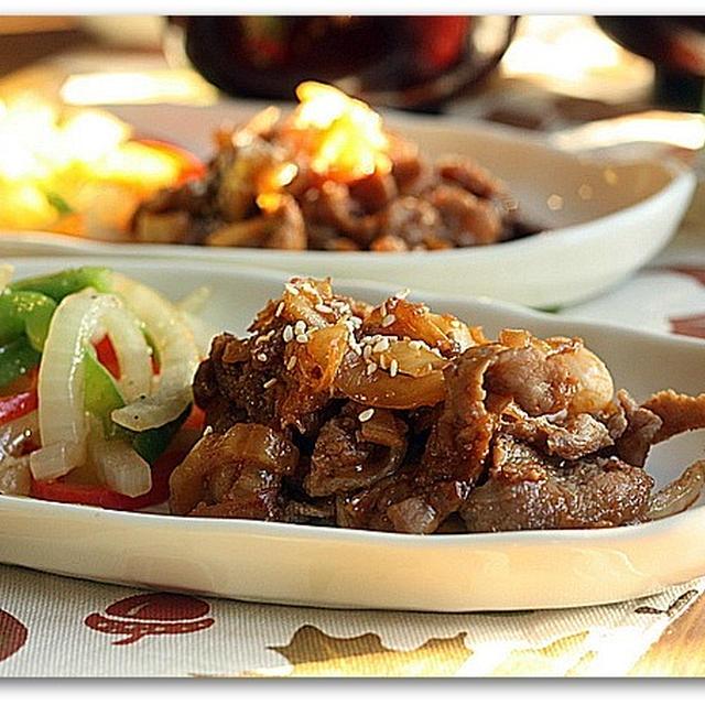 韓国風ちょいピリ辛キムチしょうが焼き&ダシダでたまごワカメスープ
