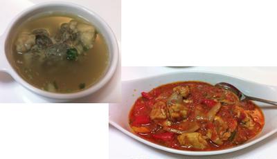 テールスープ、チキントマト煮こみ、ウドの酢みそ和えとキンピラ