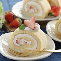 オイルで作る苺のロールケーキ【ボーソー米油部】☆青バージョンvs白バージョン