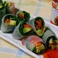 365日野菜レシピNo.170「小松菜とアボカドの生春巻きサラダ」