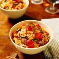 にんべん「だしとスパイスの魔法」「イタリアンソテー」でご褒美ごはん★炊飯器と電子レンジのみでお手軽調理!!彩りよく仕上げて、スパイスとハーブの香りと共に、だしの旨み、鶏肉の旨み、野菜の旨み、トマトの旨みも染みたご飯の美味しさは格別!!!鶏肉と彩り野菜たっぷりでハーブ香る♪ほんのりとピリ辛!が食欲をそそる☆トマトの炊き込みご飯【レシピ 1725】【レシピブログアワード2018】