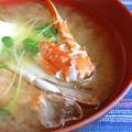 渡り蟹と貝割れの猟師風味噌汁