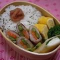 お弁当のおかずに☆豚バラ肉の野菜巻き生姜やき