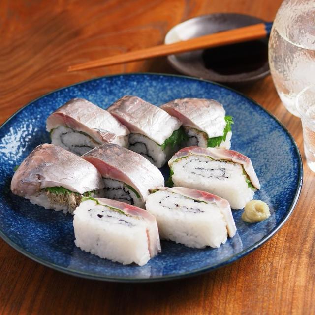 アジ寿司、マキスを使った押し寿司風、押し寿司型を使わない作り方