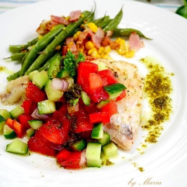 白身魚のポワレ*夏野菜ソース