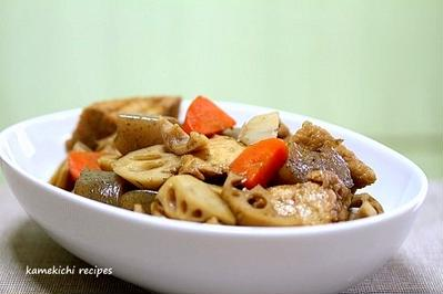 蓮根と厚揚げの甘辛炒め煮&「スカウト活動で豪華ぶっかっけ天ぷらうどん」