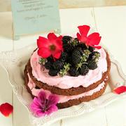 * 今度は。。。マルベリーのネイキッドケーキを作りました~♪