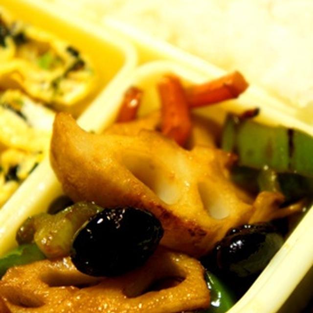 世紀末弁当救世主伝説、黒豆と根菜の滋養中華炒めと菜の花、焼き海苔の卵焼き