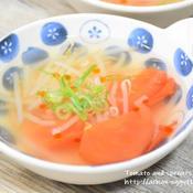 トマトともやしのピリ辛中華スープ