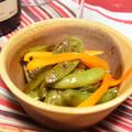 スナップエンドウの揚げびたし、黒酢風味。簡単作りおき箸休め。