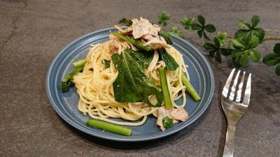 豚バラと小松菜のペペロンチーノ