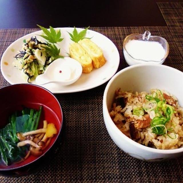 秋刀魚缶炊き込みごはんはお茶漬けもおいしいね♪