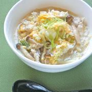 プチッとごはんズで簡単&元気朝ごはん!たっぷりキャベツときのこの雑炊。