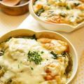 賀茂茄子と春菊のオニオングラタンスープ