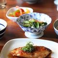 ぶりの梅照り焼き。4種の副菜。