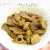 鶏肉と根菜とこんにゃくのピリ辛炒め