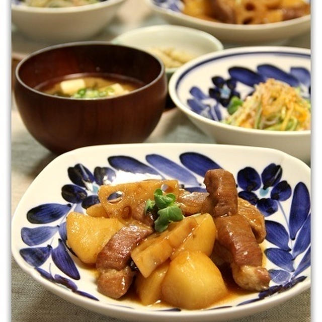 れんこんとじゃがいもと豚肉の中華煮こみ