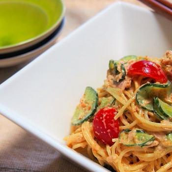 胡麻カレー風味のサラダスパゲティ♪  &暑中見舞い