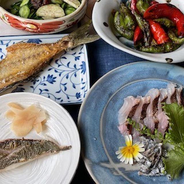 ウメイロの料理 ♪焼き霜造り・塩焼き・昆布締め丼・潮汁♪