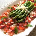 苺&トマトミントソースのアスパラガス&鶏胸肉と野春菜ココナッツオレンジ炒め
