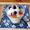 夏休みのおやつに♪ シフォンケーキとセミフレッドアイスクリームのパフェ風。