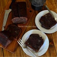 チョコレートとマロングラッセの酵母パウンド、浸みチョコラスク