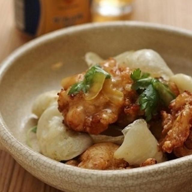 鶏唐揚げと百合根の柚子餡かけ