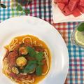 ディラム粉で本格フィットチーネ作り~夏野菜のトマトソースパスタ by pentaさん