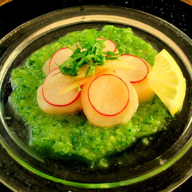 夏野菜のきゅうりをつかって・・・爽やかグリーンソースのホタテのカルパッチョ