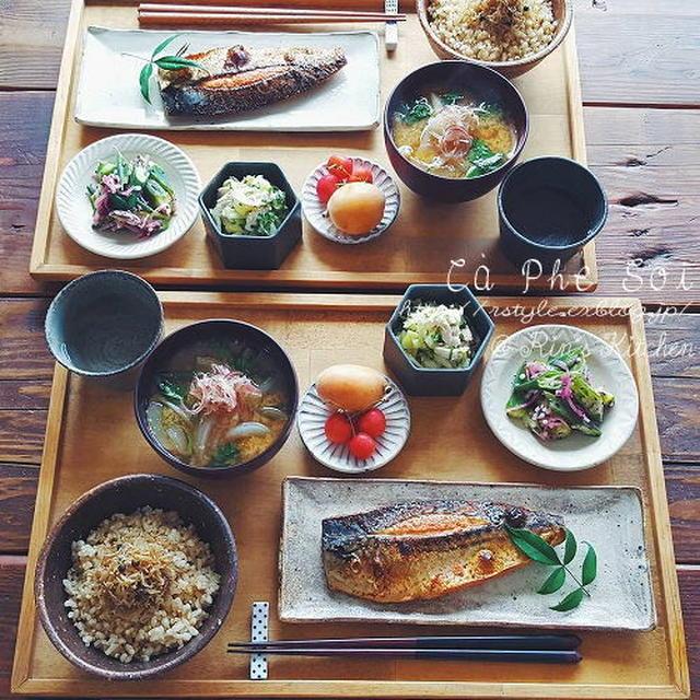朝ごはん☆鯖の明太子漬け焼き