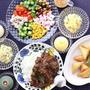 「欧風カレー」「ブリワット」「オクラとお豆といろいろお野菜の梅わさびドレッシングサラダ」