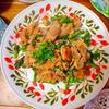 菜花と豚肉のシビ辛炒め