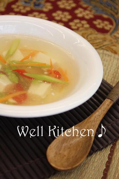 アスパラと豆腐のあっさり中華スープ(1人分46kcal)