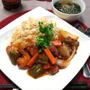 中華ぶっかけ飯 ~塩麹酢鶏 on 炒飯~
