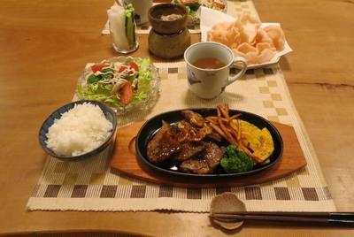 黒胡椒ソースのステーキの晩ご飯 と 『おにぎらず』失敗^^;