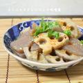 コンニャクとレンコンの味噌煮