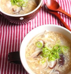 つるんと食感*柔らか鶏むね肉入りとろ~り卵スープ(柚子胡椒風味)
