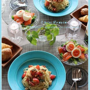 サラダチキンとトマトの冷製パスタ