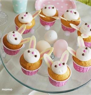イースター*うさぎのカップケーキの作り方*キャラスイーツ