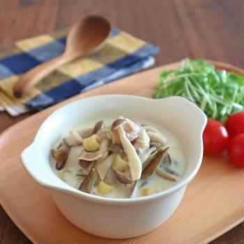食べるスープ♪きのことごぼうのクリームスープパスタ