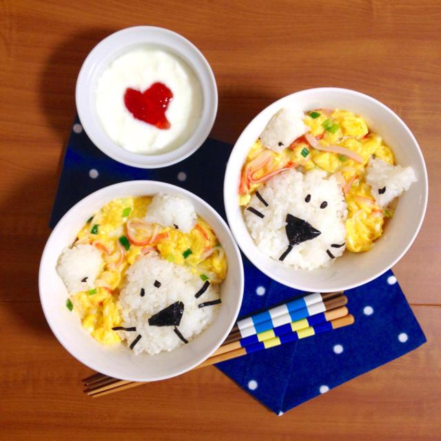 簡単朝ごはん!中華風?カニカマの卵とじで「ライオン丼」
