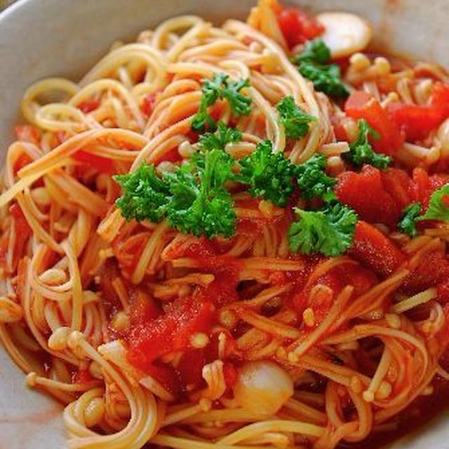 たっぷりえのきの☆チャイナトマトのスパゲッティ