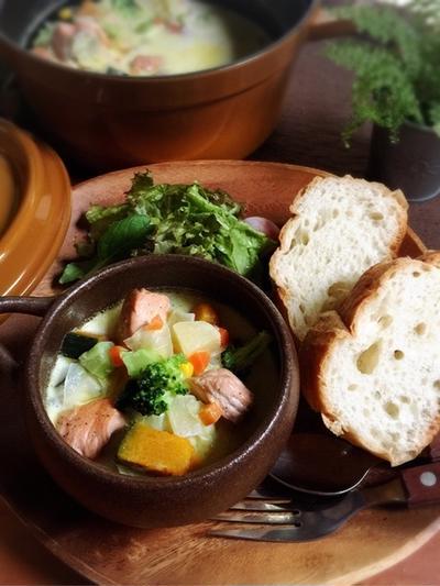 彩り鮭チャウダースープでほっこり と 作ってくれたよ~