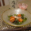 げそと若芽の和風サラダ、河豚皮と筍のひよこ豆味噌ぬた、このしろ菜の花お浸し、牡蠣の山椒ご飯