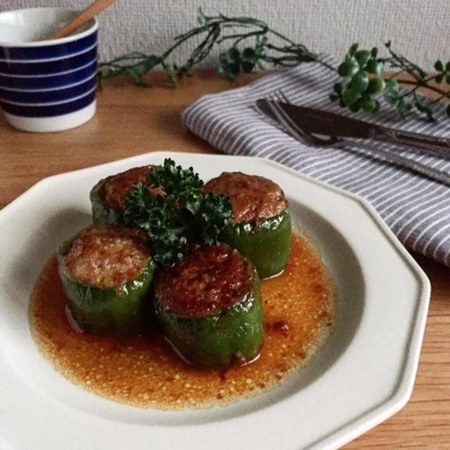 お豆腐入りのピーマンの肉詰め*簡単*節約 &パスタソース