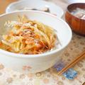桜海老と玉ねぎのかき揚げ丼&たらと白菜と根菜の塩昆布煮